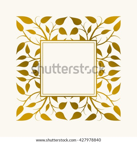 Vector hand drawn frame. Border is made with seamless pattern with leaves. - stock vector