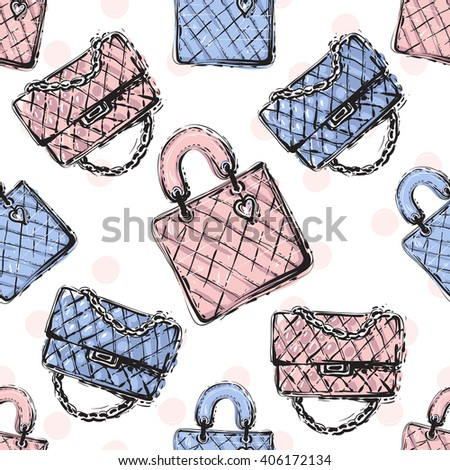 Vector hand drawn graphic fashion sketch fashionable clutch and leather handbag. Trend soft colored glamour fashion seamless pattern in vogue style. Isolated elements on white background - stock vector