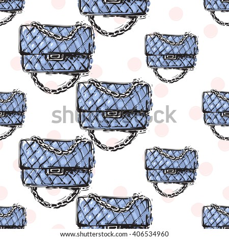 Vector hand drawn graphic fashion sketch fashionable clutch. Trend soft colored glamour fashion seamless pattern in vogue style. Isolated elements on white background - stock vector