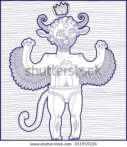 Vector hand drawn graphic lined illustration of weird creature, cartoon nude man with wings and royal crown, animal side of human being. Prince or king artistic allegory drawing.  - stock vector