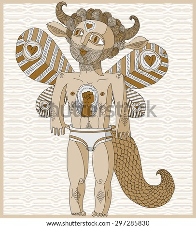 Vector hand drawn graphic lined illustration of weird creature, cartoon nude man with wings, animal side of human being. Idol concept, art mythic allegory drawing.  - stock vector