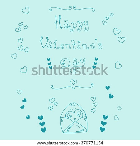 Vector hand-drawn greeting card with Valentine's Day symbols. Set  with original hand phrase Happy Valentine's Day, congratulatory envelope with a heart, ornament heart. On a blue background - stock vector