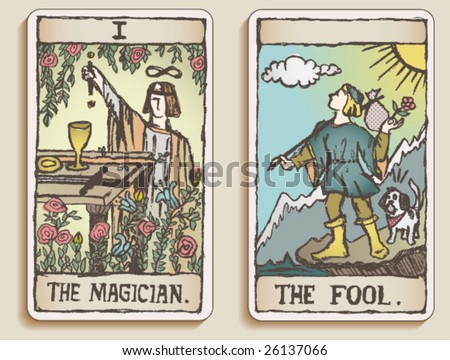 VECTOR Hand-drawn, grungy, textured Tarot cards depicting the Magician and the Fool. - stock vector