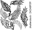 VECTOR Hand-drawn grungy wings. Set of 7 variations. - stock vector