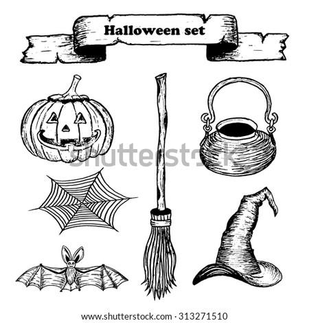 vector hand drawn halloween set on white background. EPS - stock vector