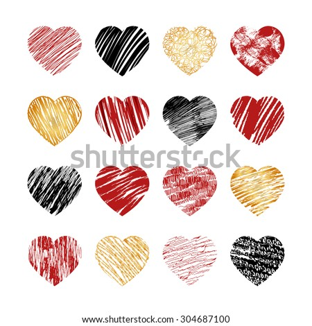 Vector hand drawn heart icons for valentines and wedding. Sign, drawing marriage set, collection silhouette pattern decor, amour decorative illustration - stock vector