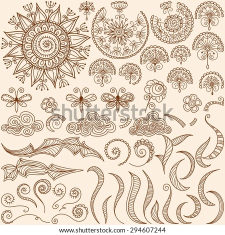 vector hand-drawn Henna mehndi tattoo doodle design elements with sun and butterfly, spirals and swirls - stock vector