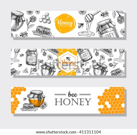 Vector hand drawn honey banners. Detailed engraved  illustrations.Graphic honeycomb, bee, pod, flowers. Great banner, poster, flyer for business promote. - stock vector
