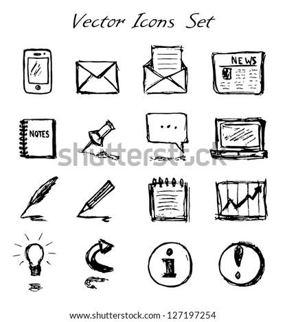 Vector Hand-Drawn Icons Set - stock vector