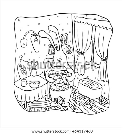 Vector hand drawn illustration. A coloring page for children. A cooking hare.