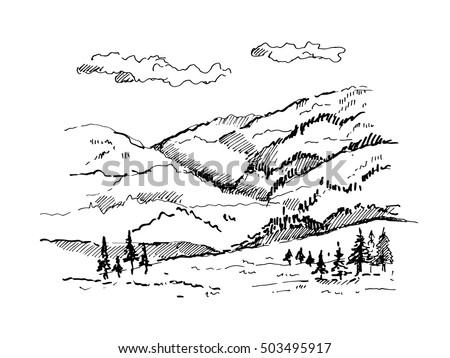 how to draw mountains in the background