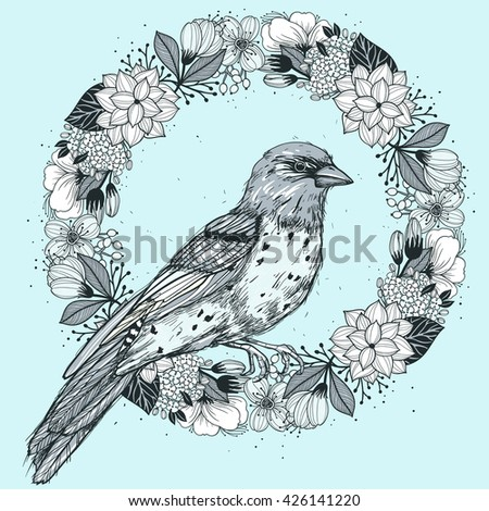 vector hand drawn illustration of a floral wreath and a bird in a vintage style
