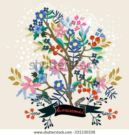 Vector hand drawn illustration of blossom tree. - stock vector