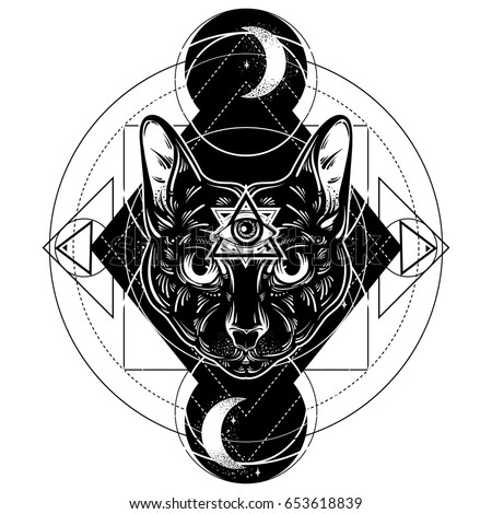 Vector Hand Drawn Illustration Of Cat Character Design All Seeing Eye Pyramid Symbol