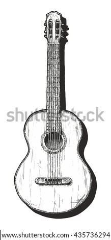 Vector hand drawn illustration of classical acoustic guitar.