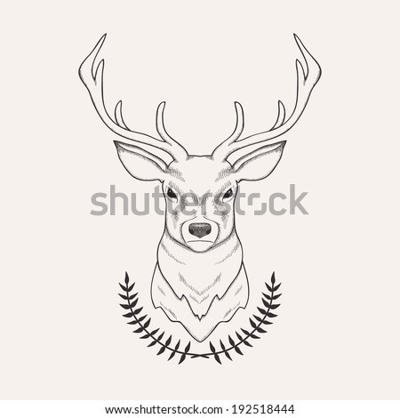 Vector hand drawn illustration of deer and laurel - stock vector