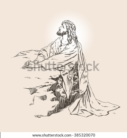 Vector hand drawn illustration of Jesus christ praying in the garden - stock vector
