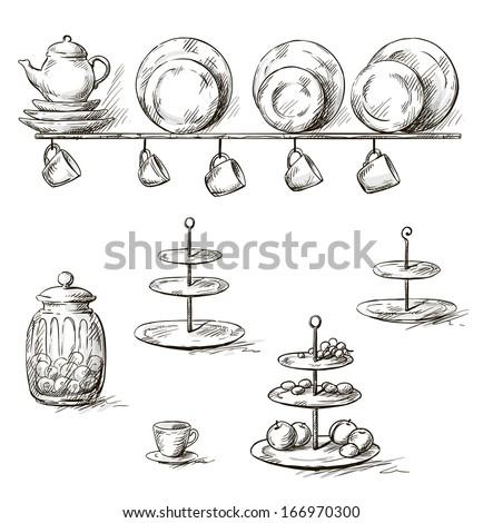 vector Hand drawn illustration of kitchen utensils - stock vector