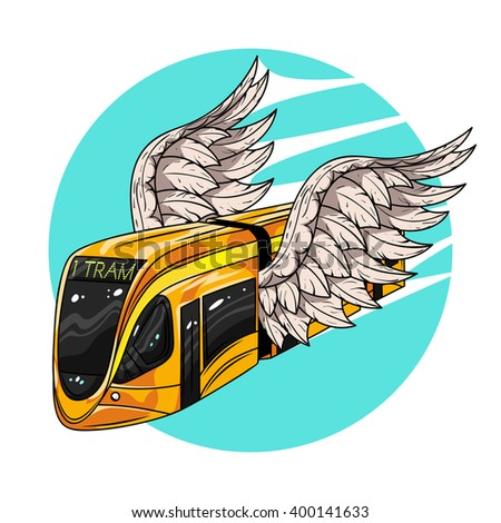 Vector hand drawn illustration of modern tram car with wings. Concept of fast transport.  Illustration for print, web.