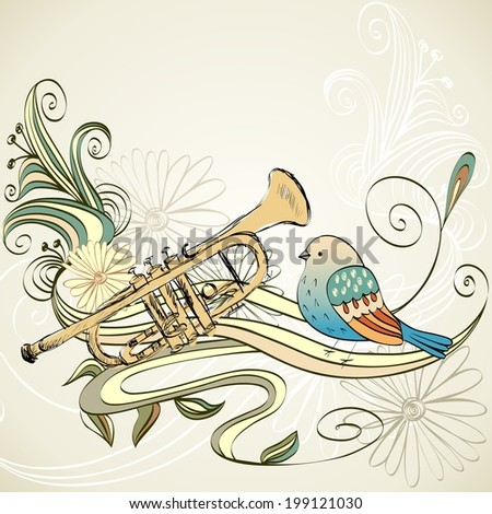 Vector hand drawn illustration of musical trumpet. - stock vector