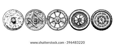 Vector hand drawn illustration of the wheel evolution set. stone, antique wooden, spoked, steel, modern alloy. Set in ink hand drawn style.