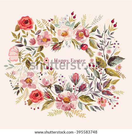 Vector hand drawn illustration with beautiful floral wreath. Happy Easter greeting card with  - stock vector