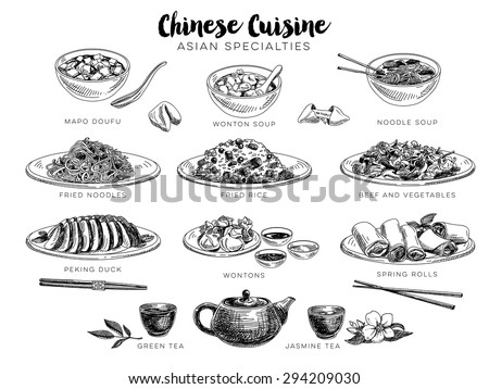 Vector hand drawn illustration with chinese food. Sketch.  - stock vector
