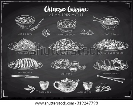 Vector hand drawn illustration with chinese food. Sketch. Chalkboard. - stock vector