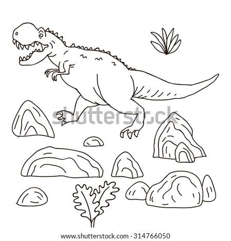 Vector Hand Drawn Illustration With Cute Cartoon Doodle Dinosaur Jurassic Park