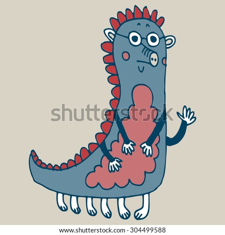 Vector hand-drawn illustration with  cute cartoon doodle monster - stock vector