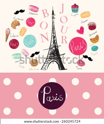 Vector hand drawn illustration with Eiffel tower and Hello Paris text. Symbol of Paris - stock vector
