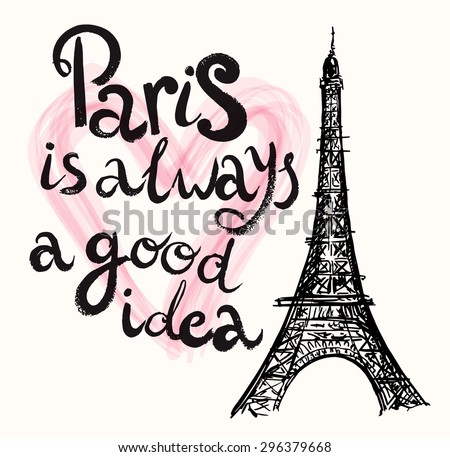 Vector hand drawn illustration with Eiffel tower. Paris. - stock vector