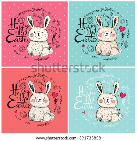Vector hand drawn illustration with funny little bunny. Happy Easter greeting card with bunny, eggs and flowers - stock vector