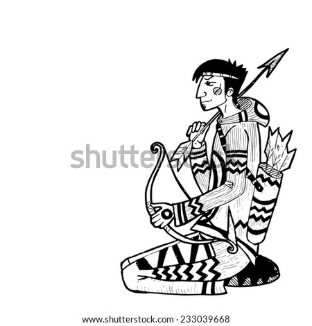 Vector hand drawn illustration with indian character. Native american hunter.