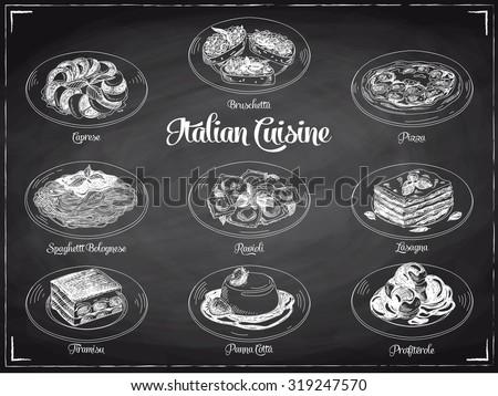 Vector hand drawn illustration with italian food. Sketch. Chalkboard. - stock vector