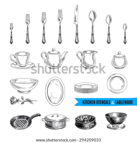 Vintage Kitchen Utensils Illustration vintage kitchen stock photos, royalty-free images & vectors