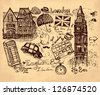 Vector hand drawn illustration with London symbols - stock vector