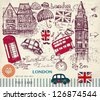 Vector hand drawn illustration with London symbols - stock