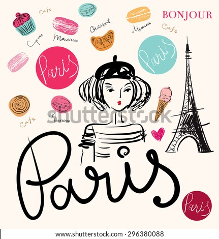 Vector hand drawn illustration with Paris symbols.  - stock vector