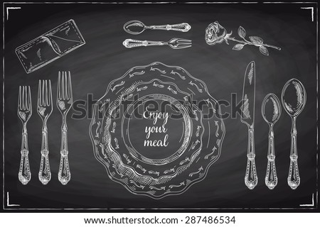 Vector hand drawn illustration with Table setting set. Sketch. Vintage illustration. Chalkboard. - stock vector