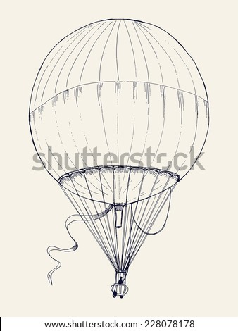 Vector hand drawn ink pen illustration of ancient air balloon flying | Vintage aerostat line art drawing - stock vector