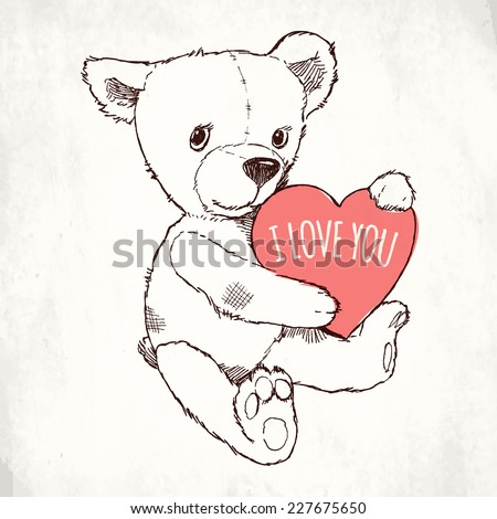 Vector hand drawn ink pen illustration of cute teddy bear holding pink heart with 'I Love You' title on it on paper texture background | Soft toy teddy bear with heart valentine design element - stock vector