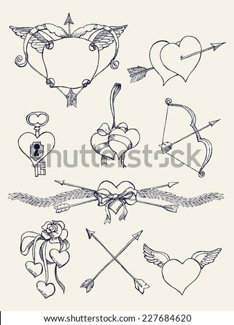 Vector hand drawn ink pen retro vintage design elements, spacers, dividers and dingbats on bow and arrow, hears, wings and other romantic valentine's day items, black and white - stock vector