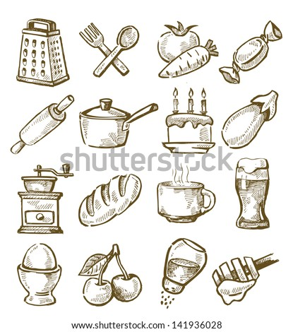 vector hand drawn kitchen icons set on white - stock vector