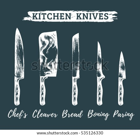 Vector Hand Drawn Kitchen Chefs Knives Stock Vector
