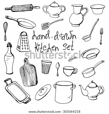 Vector hand-drawn kitchen set with kitchenware in doodle style - stock vector
