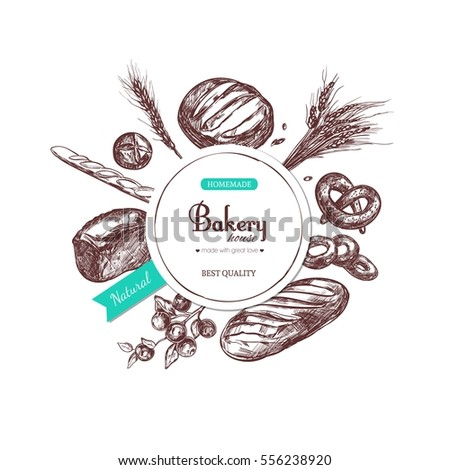 Vector hand drawn label. Bakery shop. Design template.
