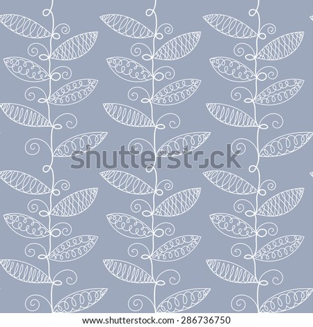Vector hand drawn leaves background. Seamless pattern. - stock vector
