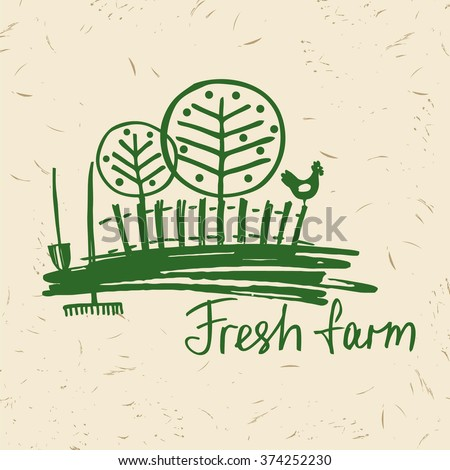 Vector hand drawn logo fresh farm. Lettering logo agriculture and farm. Sketch of rural landscape with a rooster, fence, trees, gardening tools. - stock vector