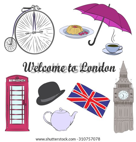 Vector hand drawn London set with red phone booth, Big Ben clock, flag of Great Britain, cup of coffee, hat, clock, umbrella